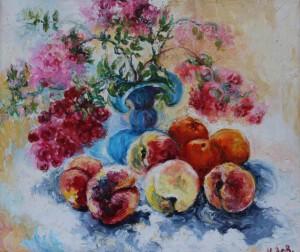 005 Ловянникова ИС Цветы в синей вазе с персиками